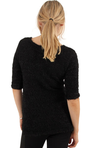 Black Sweater Complete With Daisy Necklace