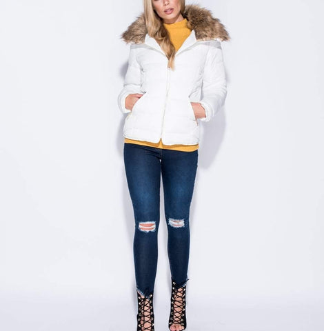 White Faux Fur Collar Zip Puffa Jacket
