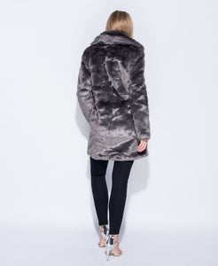 Dark Grey Faux Fur Coat