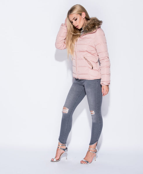 Pink Faux Fur Collar Zip Puffa Jacket