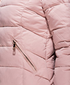 Pink Faux Fur Collar Zip Hooded Puffa Jacket