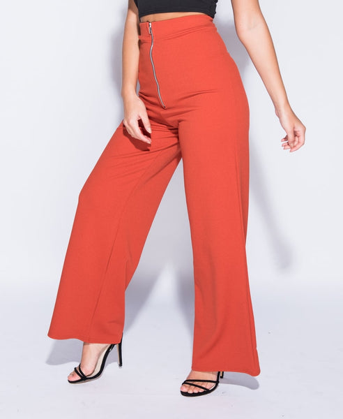 Rust Zip High Waisted Wide Leg Trousers