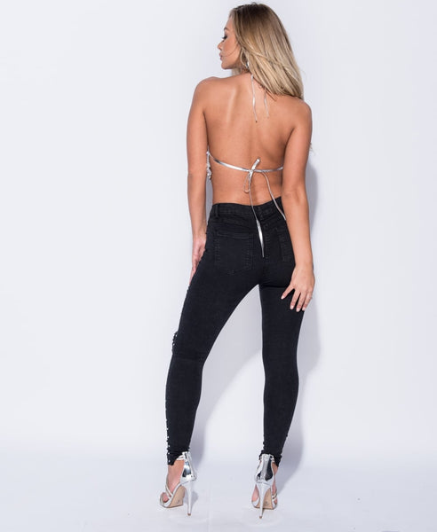 Sequin Tie Detail Open Back Crop Top