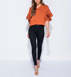 Ruffle Sleeve V Neck Top