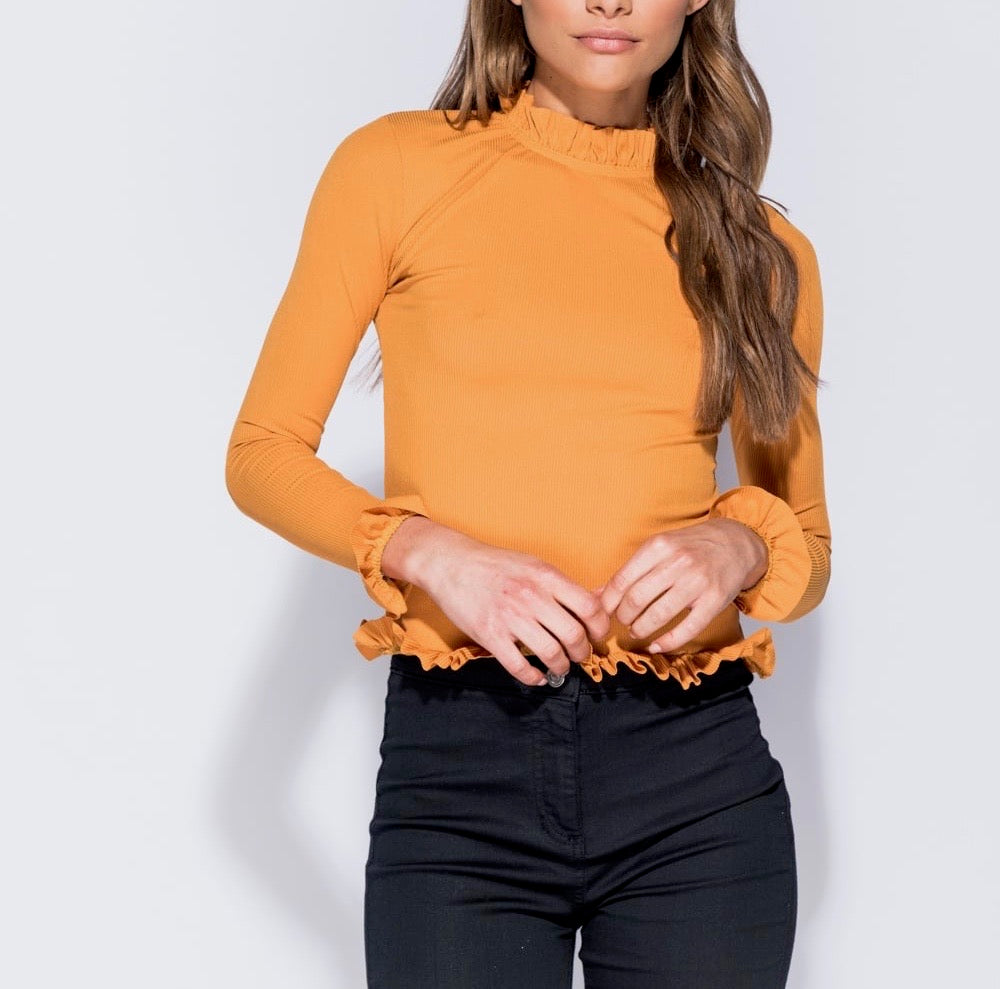 Skinny Rib Frill Long Sleeve Top