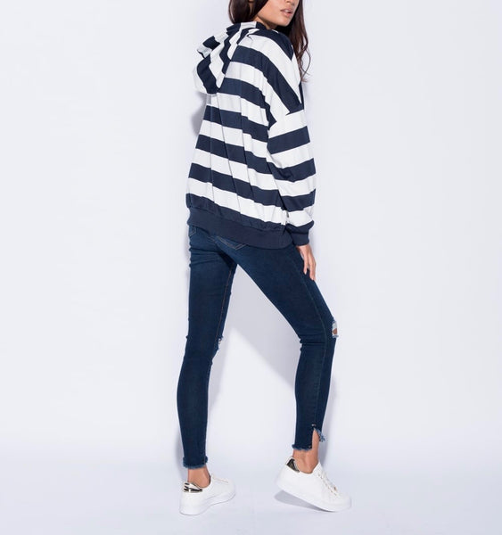 Stripe Hooded Sweatshirt