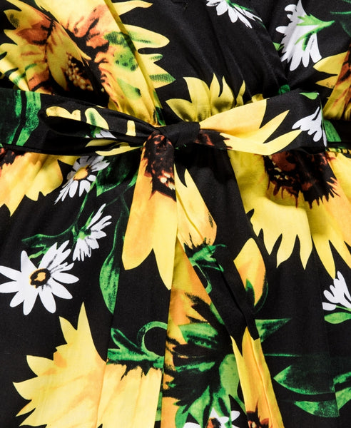 Sunflower Print Wrap Playsuit
