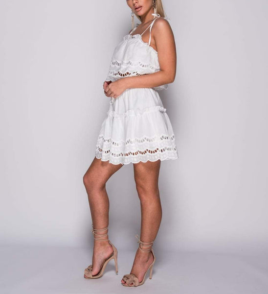 White Broderie Lace Co Ord Set