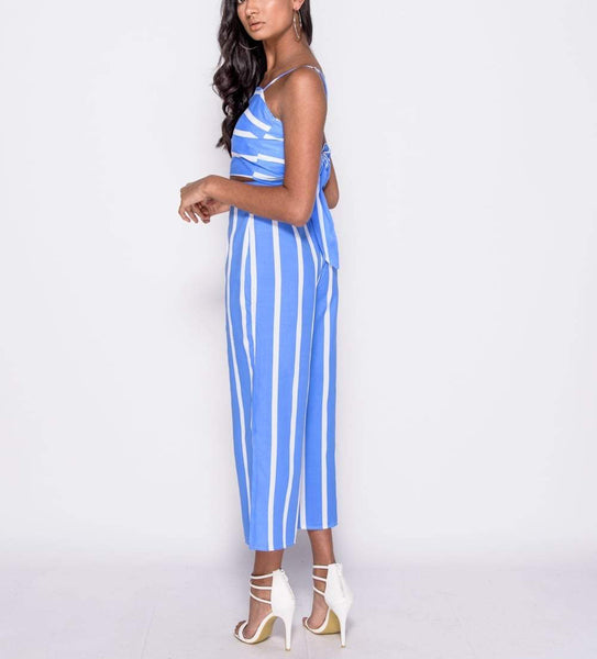 Striped Bow Top & Cropped Trouser Co Ord Set
