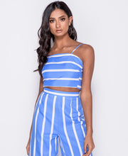 Load image into Gallery viewer, Striped Bow Top & Cropped Trouser Co Ord Set