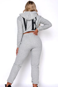 LOVE Loungewear Set with Joggers & Cropped Hoodie
