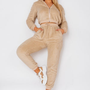 Teddy Borg Jogger Loungewear Set & Cropped Zip Hoodie