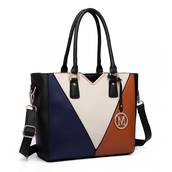 Leather Look V-Shape Multi-Colour Tote Bag