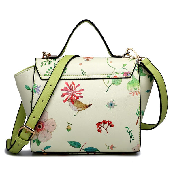 Leather Style Floral Print Winged Satchel Bag