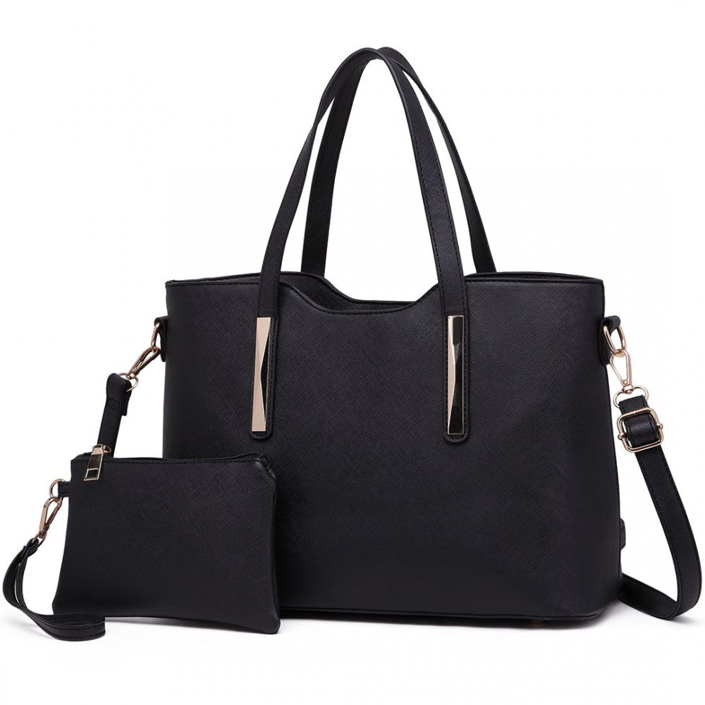 PU Leather Handbag & Matching Purse Set