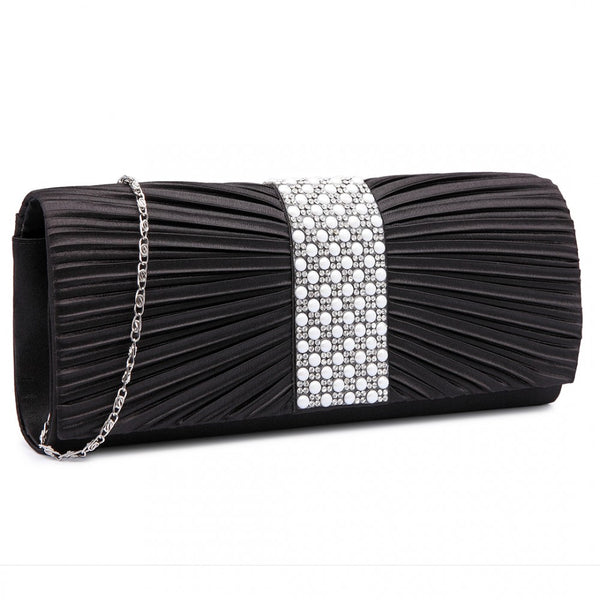 Diamanté and Pearl Ruched Satin Clutch Evening Bag