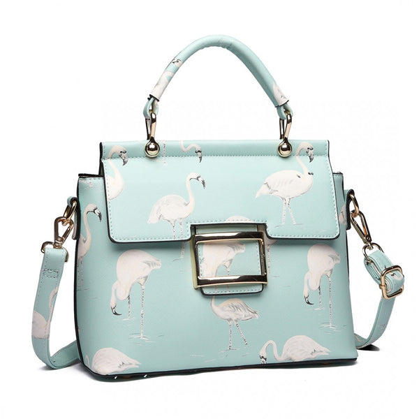Flamingo Print Crossbody Handbag