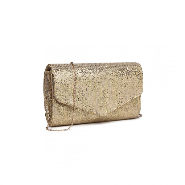 Glitter Envelope Clutch Bag With Strap