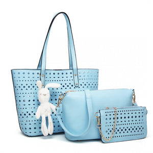 Laser Cut Out Bag Set With Plush Rabbit Keyring