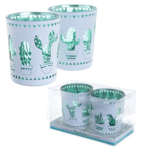 Set of Two Cactus Tea Light Holders