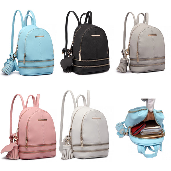 Leather Look Small Fashion Backpack