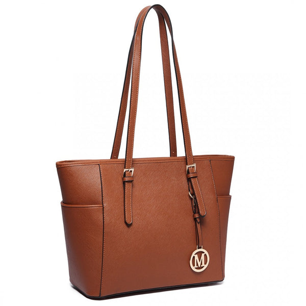 Faux Leather Adjustable Handle Tote Bag