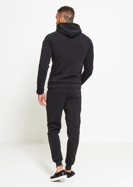 Aarhon Skinny Fit Black Hooded Tracksuit