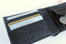 Load image into Gallery viewer, Black Leather RFID Protected Wallet, 4 Card Slots
