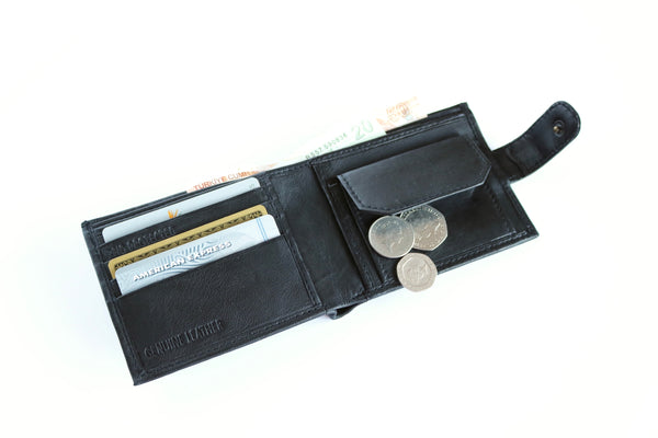 Black Leather RFID Protected Wallet, 4 Card Slots