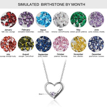 Load image into Gallery viewer, Personalised, Engraved Heart Birthstone Necklace