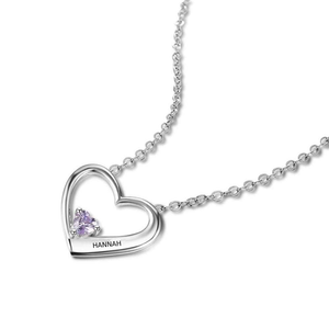 Personalised, Engraved Heart Birthstone Necklace
