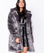 Load image into Gallery viewer, Dark Grey Faux Fur Coat