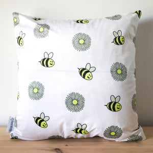 Bee & Daisy Print Cushion Cover