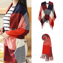 Load image into Gallery viewer, Large Lattice Tassel Scarf, Red