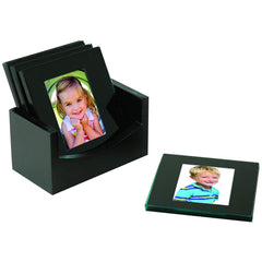 Black Glass Photo Coasters