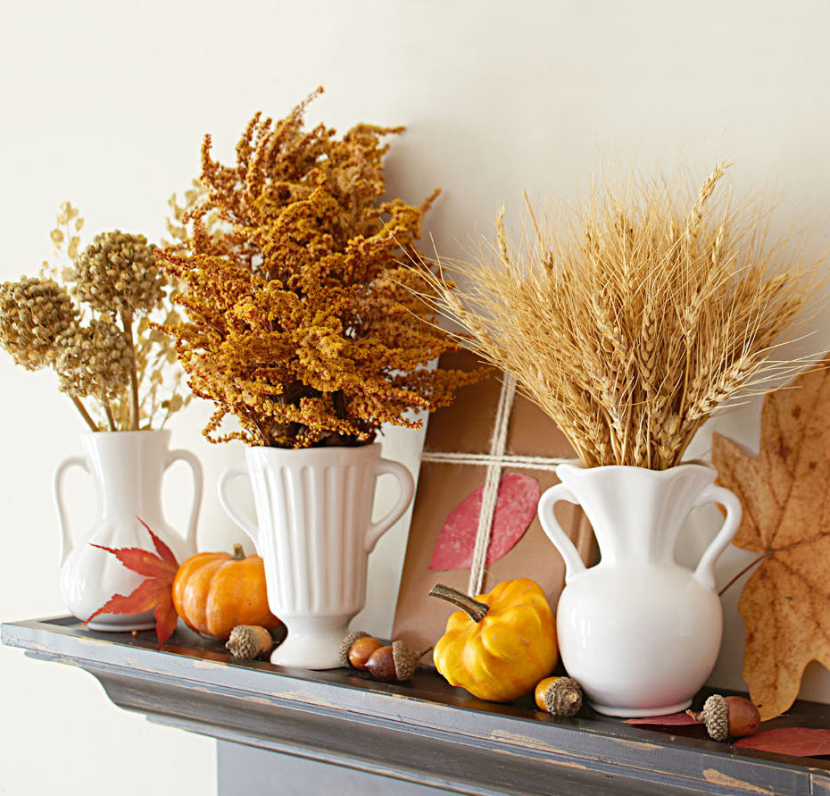 Fall Decor with Plants and Leaves
