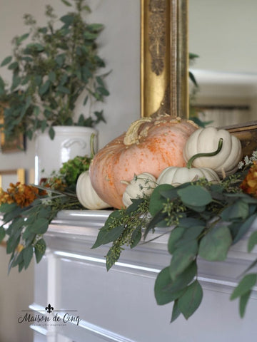 Fall Mantle Decor with Pumpkins