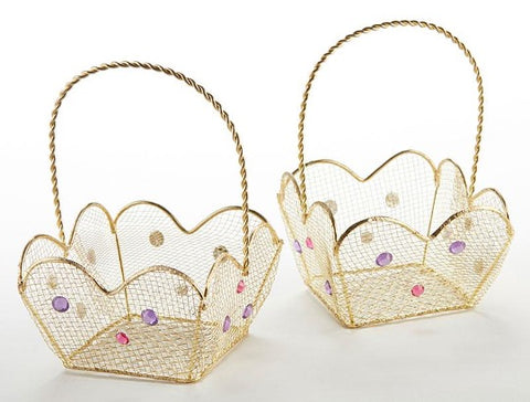 Gold Wire Basket with Jewel Handle