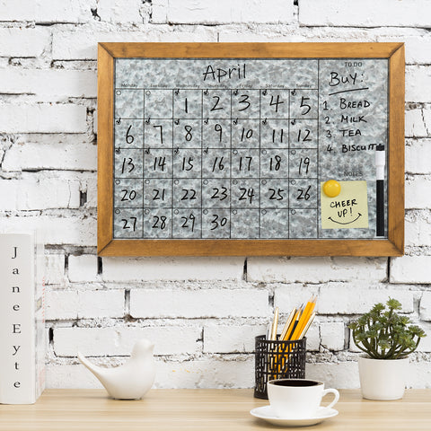 Galvanized Metal and Wood Schedule Board