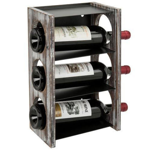 Torched Wood Wine Rack