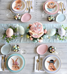 bunnies and eggs on an Easter table