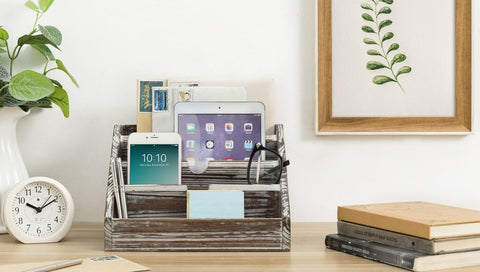 Desktop Organizer with whitewashed brown wood, ipad, cellphone, mail, and books