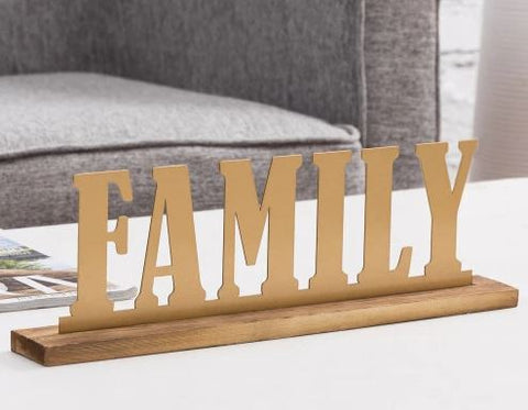 Family Brass & Wood Sign