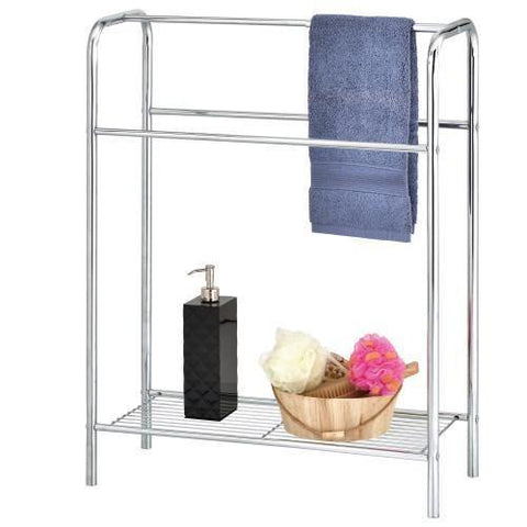 Freestanding Chrome-Plated Metal Bath Towel Rack