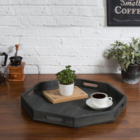 Rustic gray serving tray with coffee and plant