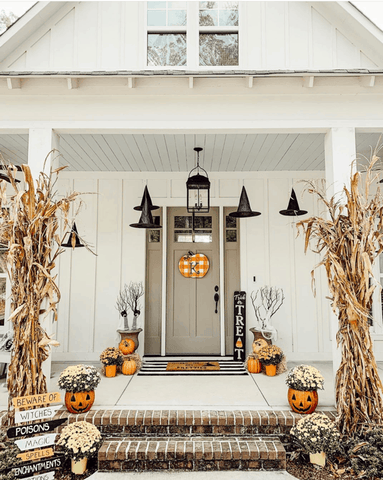 Halloween Porch Decor with Witch Hats