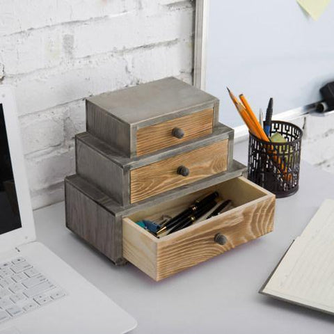 Rustic Desktop Organizer Mini Shelf