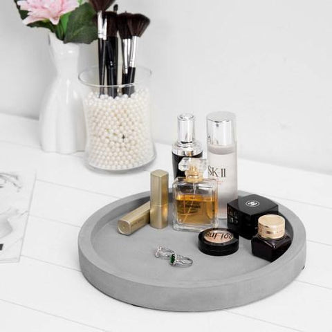 11-inch Classic Cement Gray Round Vanity Tray
