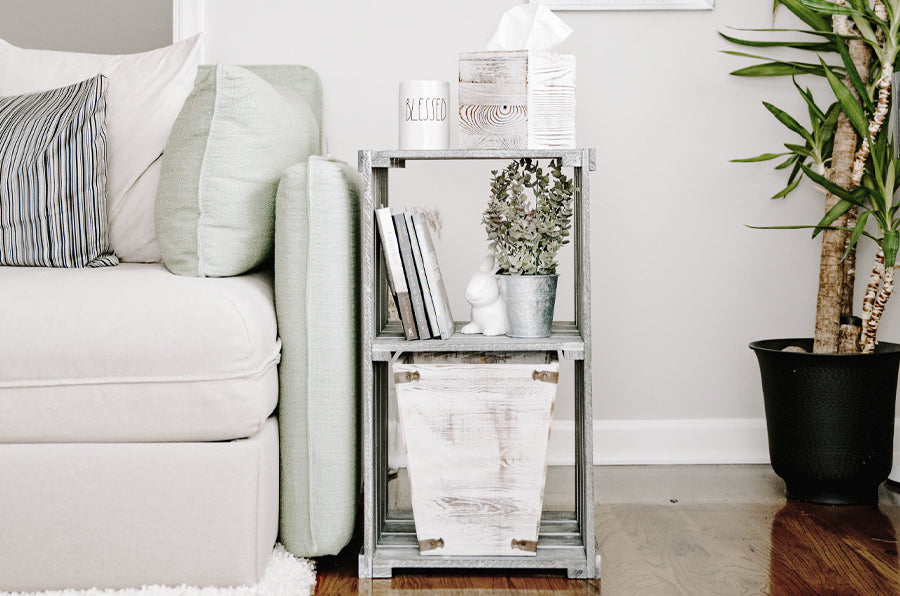Shelf with Napkin Holder in bright living room