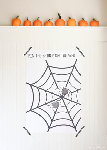 Halloween Party Game Pin Spider on Web